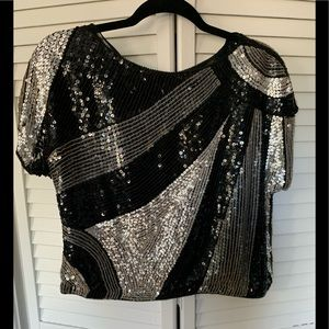 Tops - VINTAGE Silk and Sequins Crop Top - M